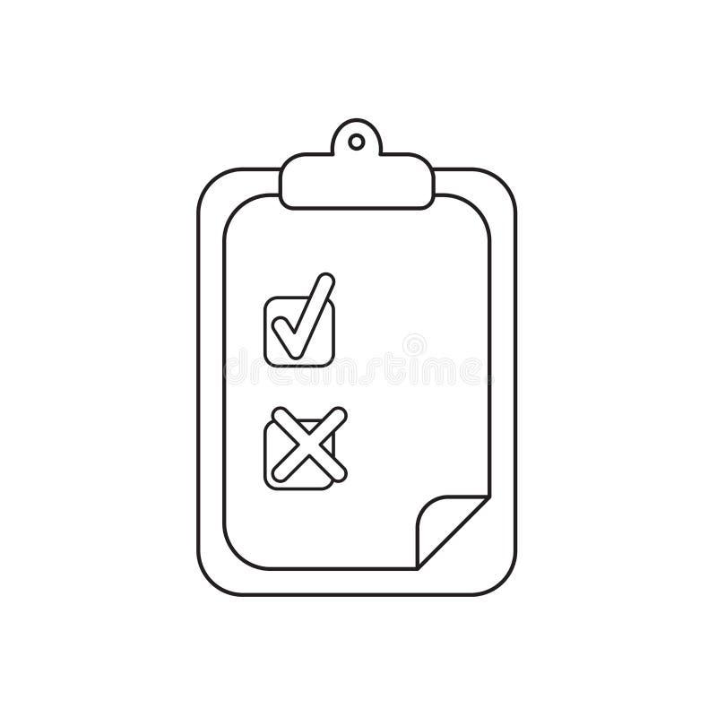 Concept d'ic?ne de vecteur de presse-papiers avec le coche et la marque de x sur le papier Contour noir illustration stock
