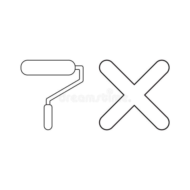 Concept d'ic?ne de vecteur de rouleau de pinceau avec la marque de x illustration de vecteur