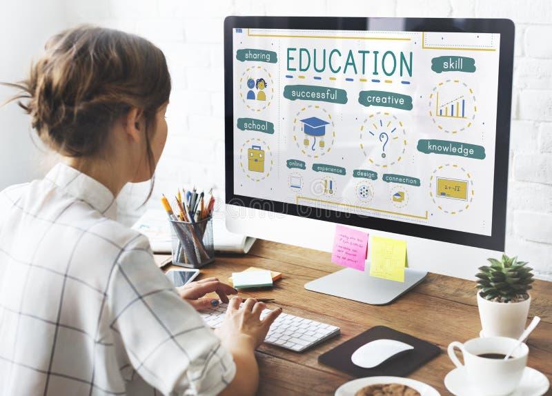 Concept d'icônes d'étude de la connaissance d'éducation photographie stock