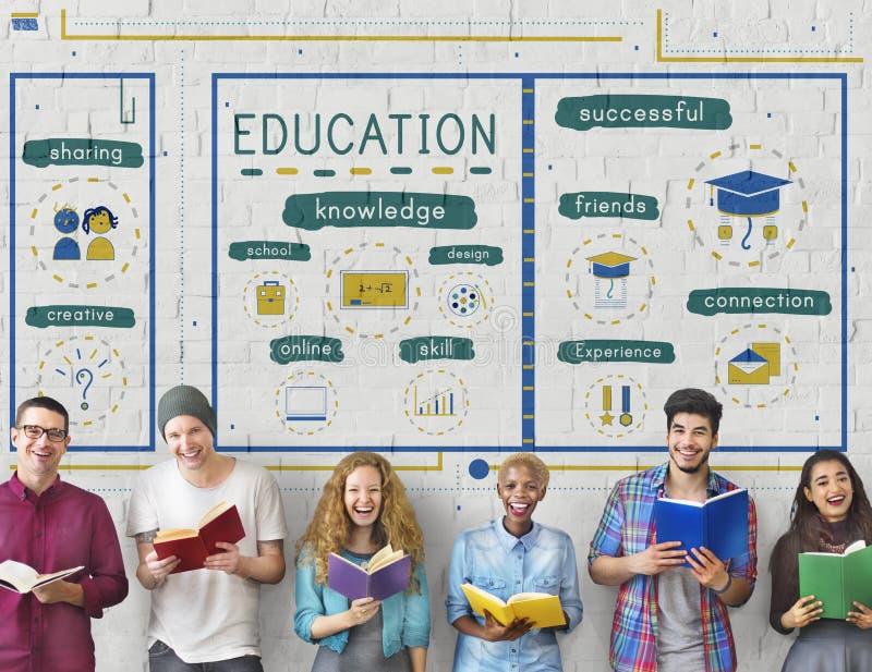 Concept d'icônes d'étude de la connaissance d'éducation images libres de droits