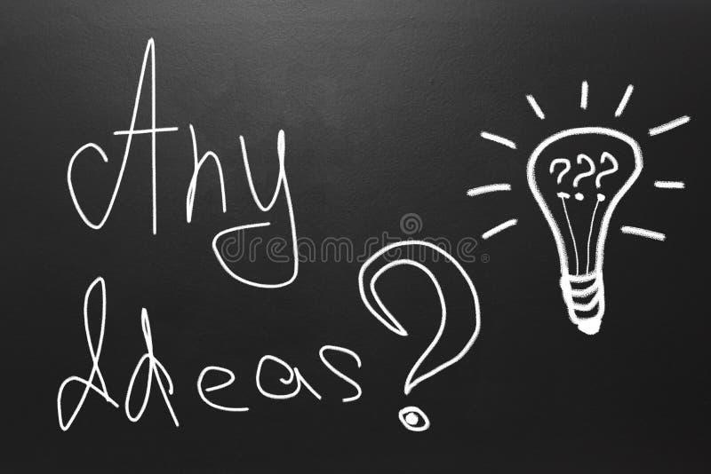 Concept d'idée avec le texte : Toutes idées dessinées sur le tableau noir images stock