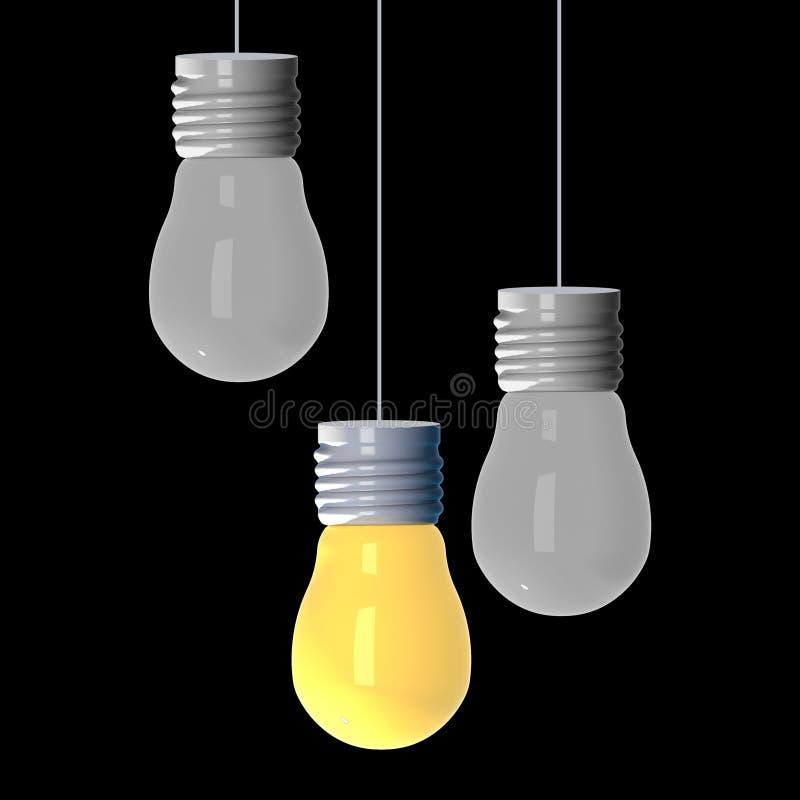 Concept d'idée, 3D rendant les ampoules ce rougeoyer parmi les autres sur le fond noir illustration libre de droits