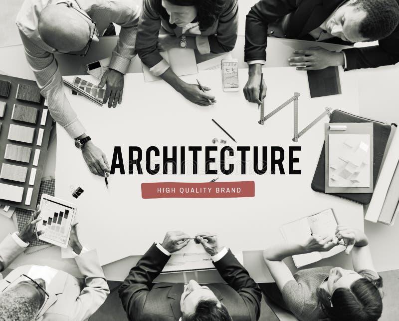 Concept d'idée de planification de plan de construction d'architecture images stock