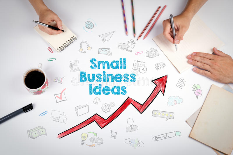 Concept d'idées de petite entreprise La réunion à la table blanche de bureau photo stock