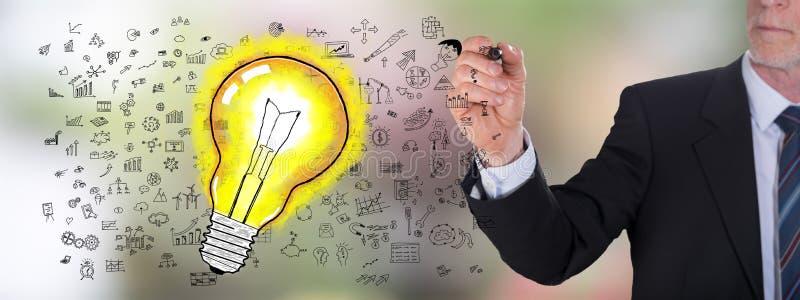 Concept d'idées dessiné par un homme d'affaires image stock