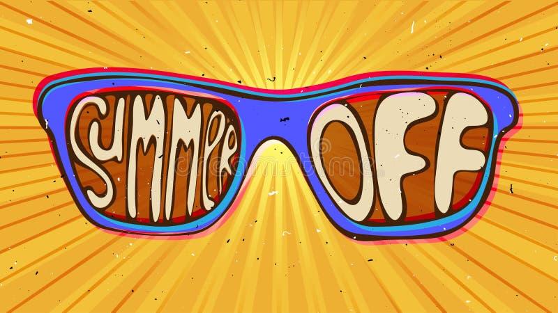 Concept d'illustration d'extrémité d'été lunettes de soleil avec le lettrage illustration de vecteur