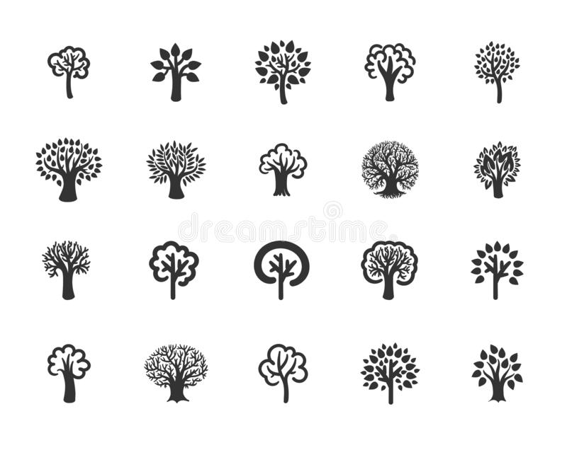 Concept d'illustration de vecteur d'arbre Noir sur le fond blanc illustration stock