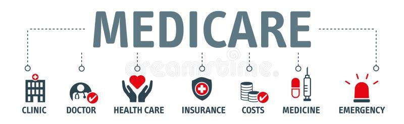Concept d'illustration de vecteur d'assurance-maladie de bannière illustration de vecteur