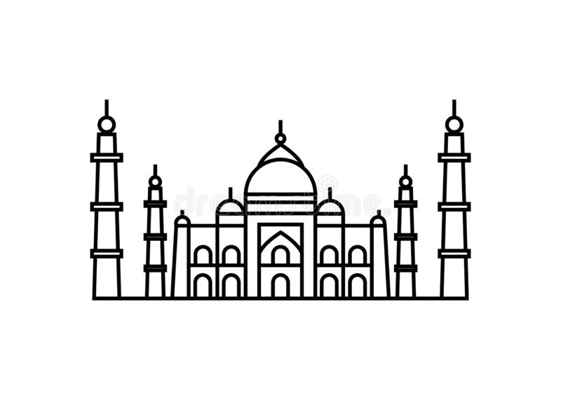 Concept d'illustration de vecteur d'icône de Taj Mahal Noir sur le fond blanc illustration libre de droits