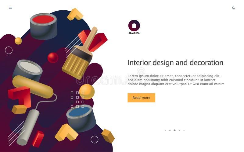 Concept d'illustration de vecteur d'immobiliers et de conception intérieure Calibre du site Web UI pour le glisseur illustration stock