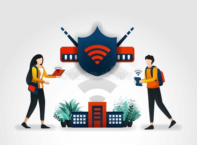 Concept d'illustration de vecteur les étudiants accèdent à l'Internet sans risque utilisant un réseau et un bouclier de wifi secu illustration libre de droits