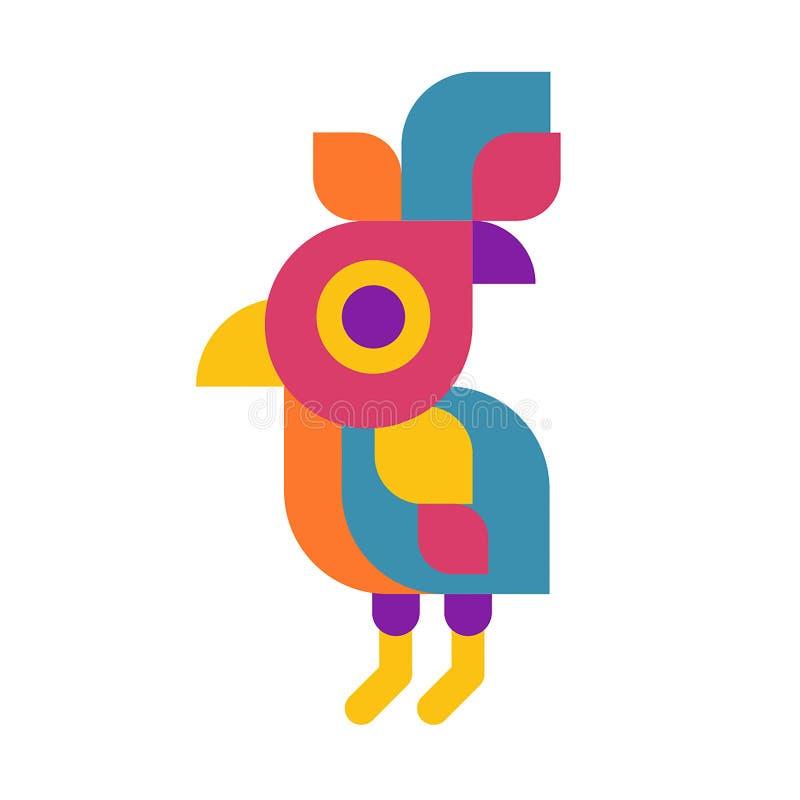 Concept d'illustration de vecteur de logo d'oiseau de perroquet Icône colorée sur le fond blanc illustration stock