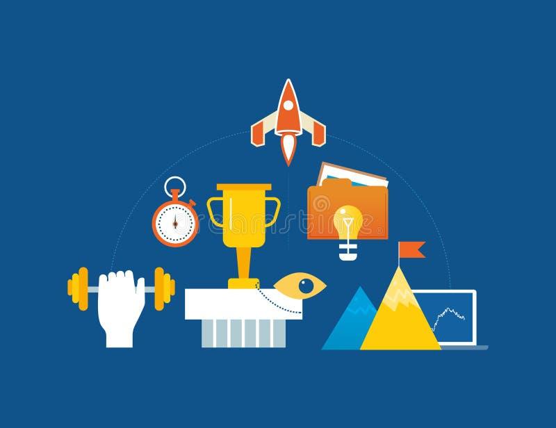 Concept d'illustration - direction, succès et motivation, conquérant des crêtes illustration de vecteur