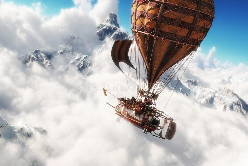 Concept d'imagination d'une navigation de dirigeable de métier de ballon actionnée par vapeur par une mer des nuages illustration stock