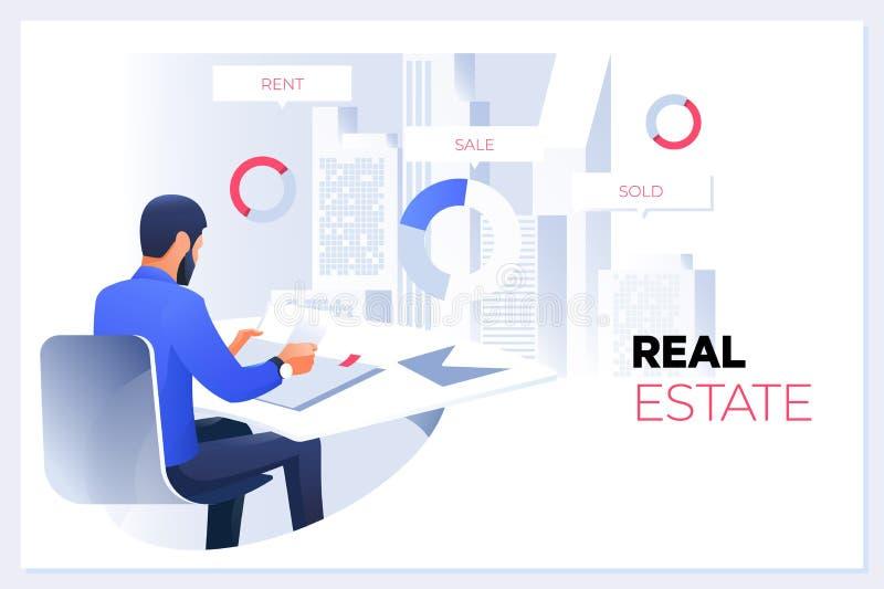 Concept 6 d'immeubles Vrai concept d'agent immobilier ou de courtier Grande offre de vente de maison illustration de vecteur