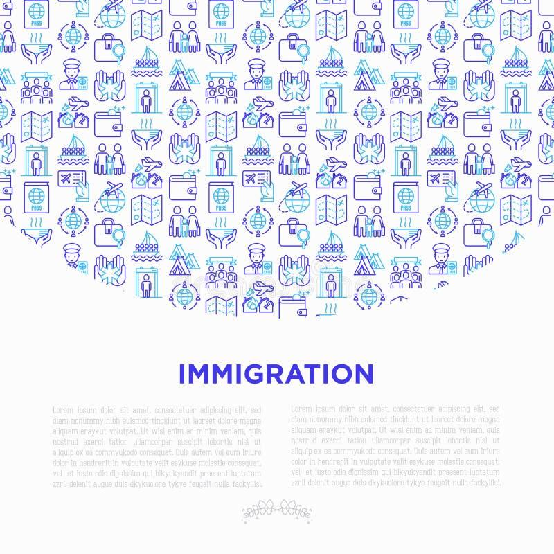Concept d'immigration avec la ligne mince icônes : immigrés, illegals, examen de bagages, passeport, vols internationaux, coutume illustration libre de droits
