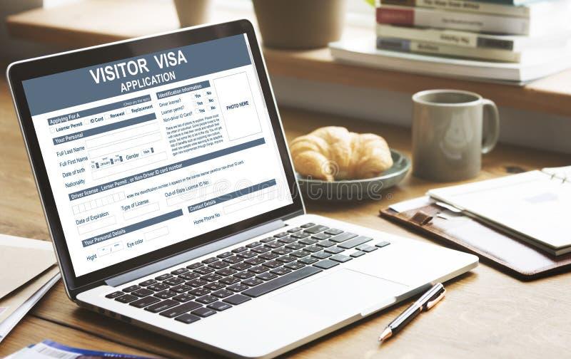 Concept d'immigration d'application de visa de visiteur image libre de droits