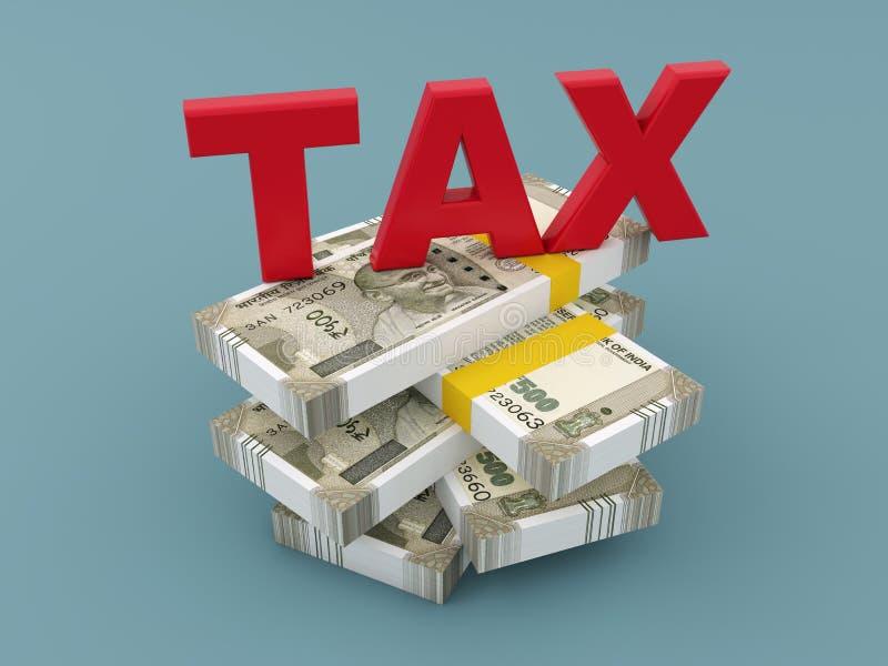 Concept d'impôts avec la nouvelle devise indienne illustration libre de droits