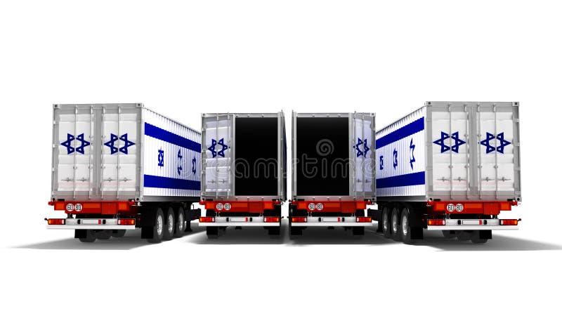 Concept d'importation de marchandises en provenance d'Israël par remorques ouvertes camions à benne 3d rendu sur fond blanc avec  illustration stock