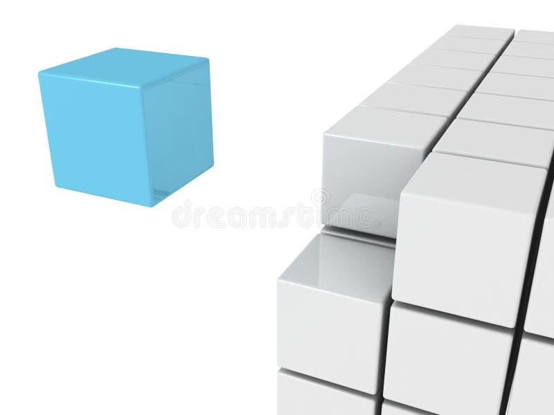 Concept d'individualité avec le seul cube bleu illustration de vecteur