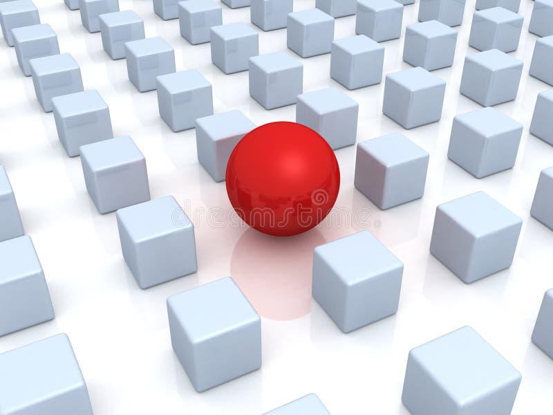 Concept d'individualité. seuls bille et cubes rouges illustration de vecteur