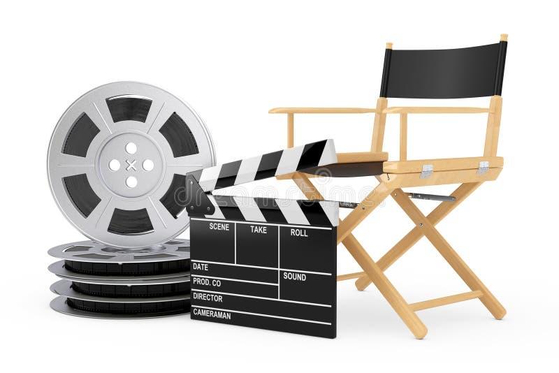 Concept d'industrie de cinéma Directeur Chair, clapet de film et film illustration stock