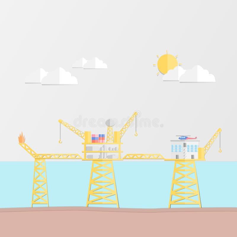 Concept d'industrie pétrolière avec la plate-forme de production de pétrole et de gaz, livin illustration de vecteur