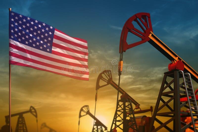 Concept d'industrie pétrolière des Etats-Unis Illustration industrielle - puits de drapeau et de pétrole des Etats-Unis sur le fo illustration libre de droits