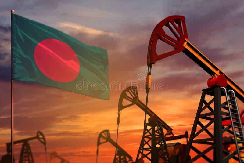 Concept d'industrie pétrolière du Bangladesh Illustration industrielle - puits de drapeau et de pétrole du Bangladesh avec le cou image libre de droits
