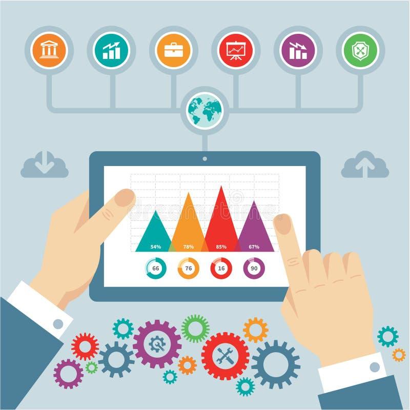 Concept d'Infographic avec des icônes et des mains dans le style plat de conception illustration libre de droits