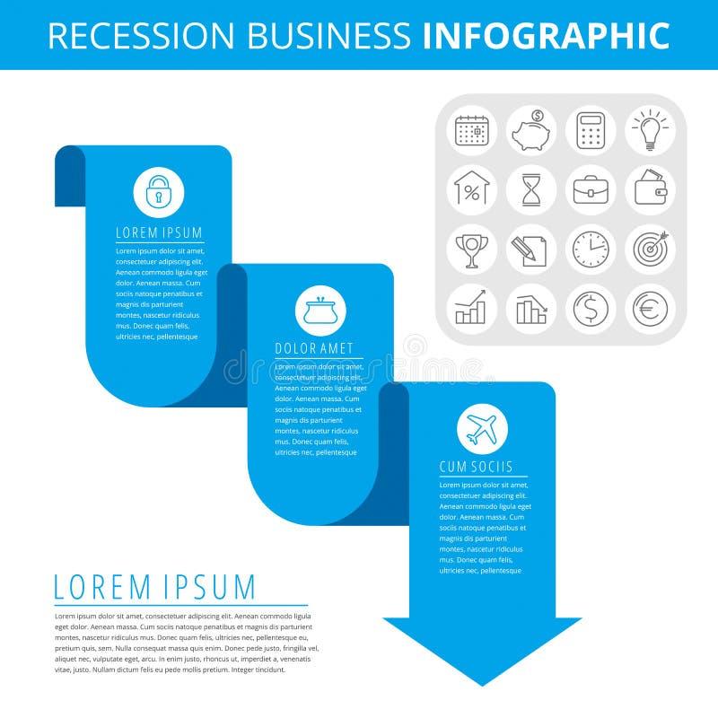 Concept d'Infographic d'affaires de récession illustration libre de droits