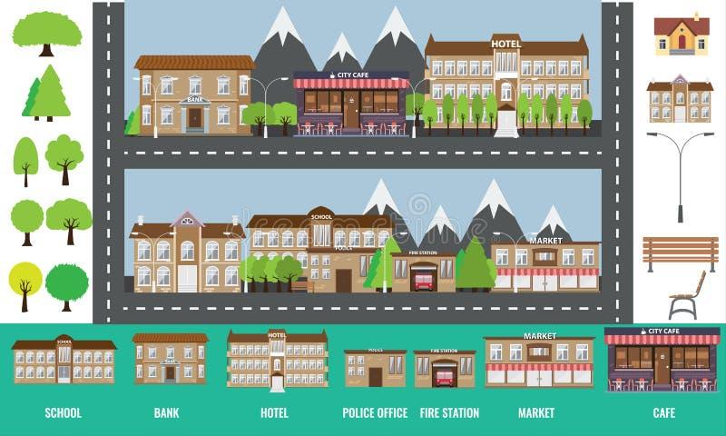 Concept d'Infographic de ville, arbres de bâtiments et d'autres éléments illustration stock