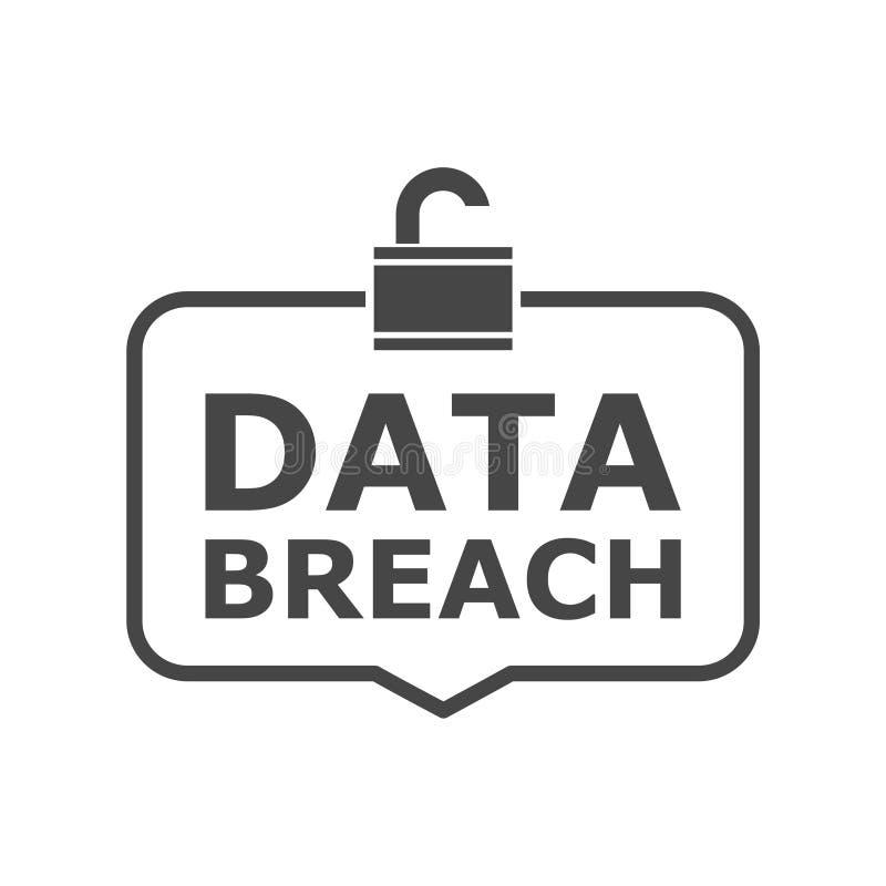 Concept d'infraction de données, icône simple de vecteur illustration libre de droits