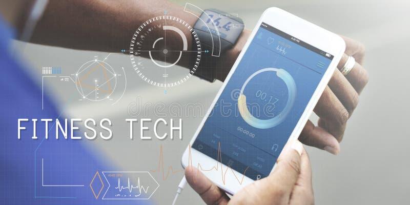 Concept d'innovation de bien-être de soins de santé de technologie de forme physique images libres de droits