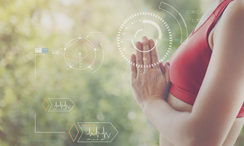 Concept d'innovation de bien-être de soins de santé de technologie de forme physique photographie stock