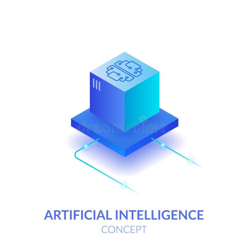 Concept d'intelligence artificielle E r La réalité virtuelle illustration libre de droits