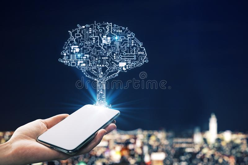 Concept d'intelligence artificielle et de réseau image libre de droits