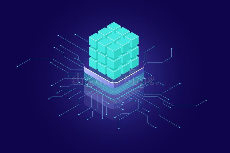 Concept d'intelligence artificielle, icône isométrique d'AI, grandes données, calcul, concept d'ordinateur géant, blocs verts, ba illustration de vecteur