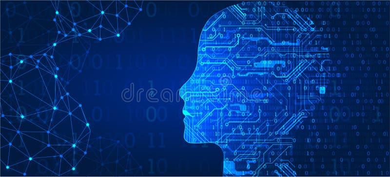 Concept d'intelligence artificielle technologie de planète de téléphone de la terre de code binaire de fond illustration stock