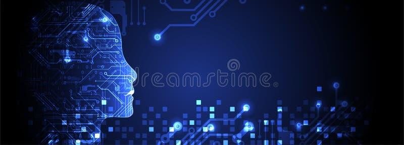 Concept d'intelligence artificielle technologie de planète de téléphone de la terre de code binaire de fond illustration libre de droits