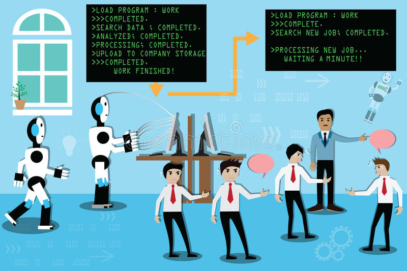 Concept d'intelligence artificielle, travail humain disruptif de robot - VE illustration de vecteur