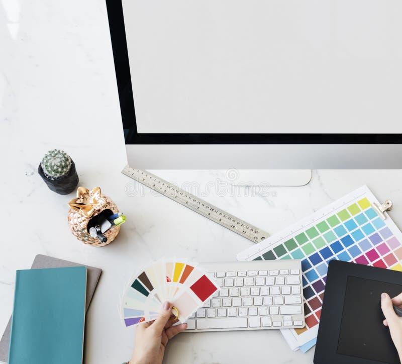 Concept d'Interior Working Workspace de concepteur images stock