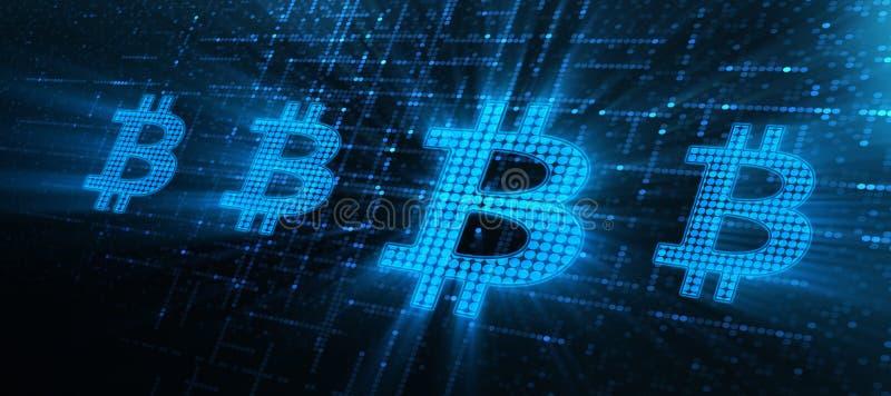 Concept d'Internet d'affaires de technologie de devise de Bitcoin Cryptocurrency illustration stock