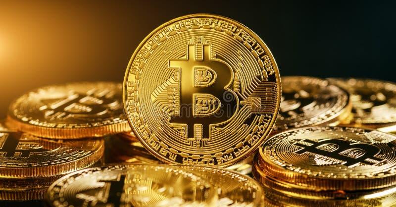 Concept d'Internet d'affaires de technologie de devise de la pièce de monnaie BTC de peu de Bitcoin Cryptocurrency Digital photographie stock libre de droits
