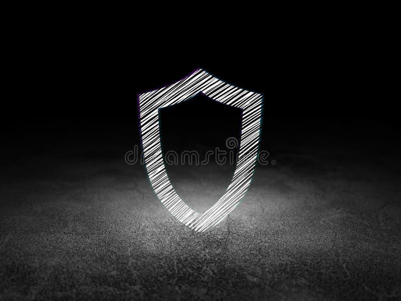 Concept d'intimité : Bouclier contourné dans l'obscurité grunge illustration de vecteur