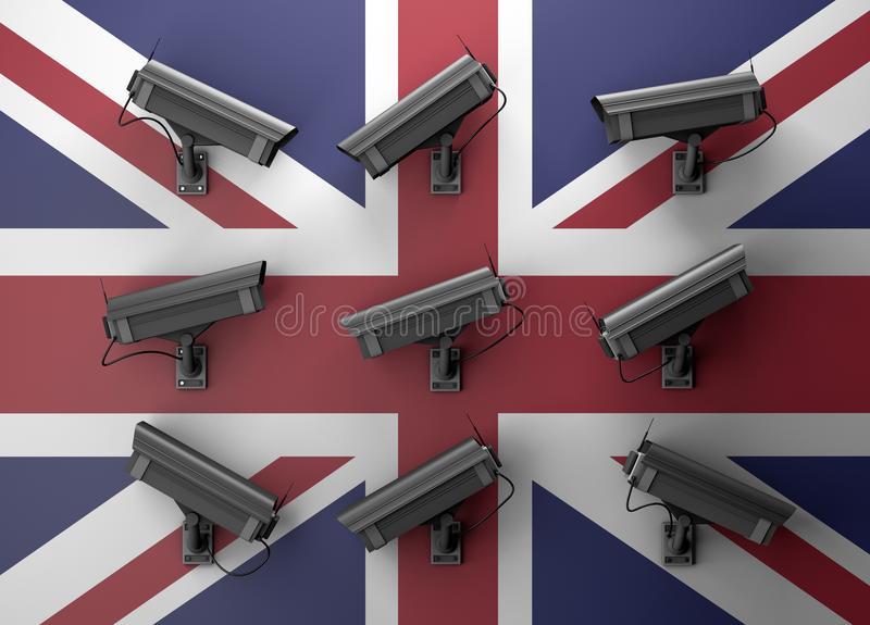 concept d'intimité de l'illustration 3d avec des vidéos surveillance illustration libre de droits