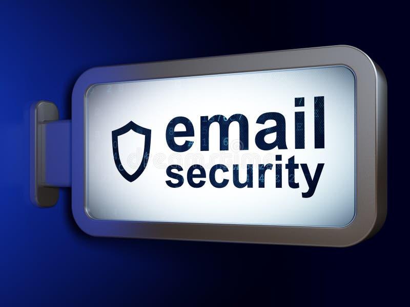 Concept d'intimité : Envoyez la sécurité et le bouclier contourné sur le fond de panneau d'affichage illustration de vecteur