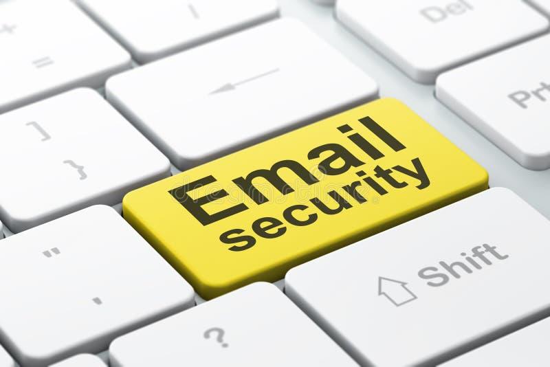 Concept d'intimité : Sécurité d'email sur le fond de clavier d'ordinateur illustration stock