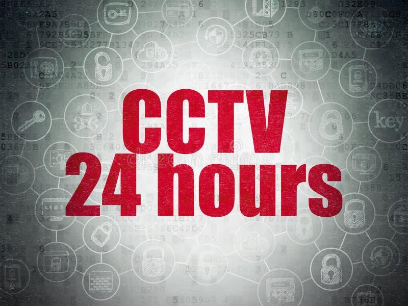 Concept d'intimité : Télévision en circuit fermé 24 heures sur le papier de Digital illustration libre de droits