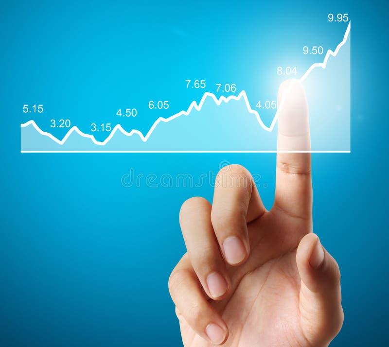 Concept d'investissement avec des symboles financiers de diagramme venant de la main images libres de droits